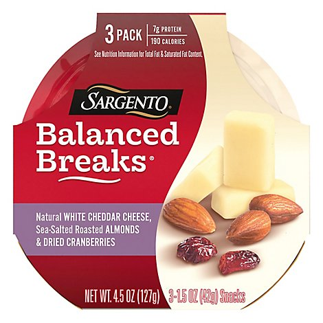 Sargento Balanced Breaks Cheese Snacks White Cheddar - 3-1.5 Oz