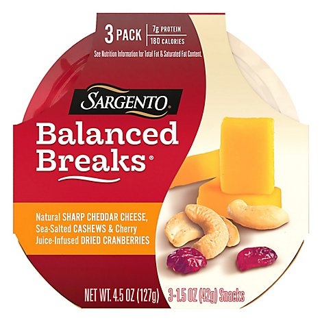 Sargento Balanced Breaks Cheese Snacks Sharp Cheddar - 3-1.5 Oz