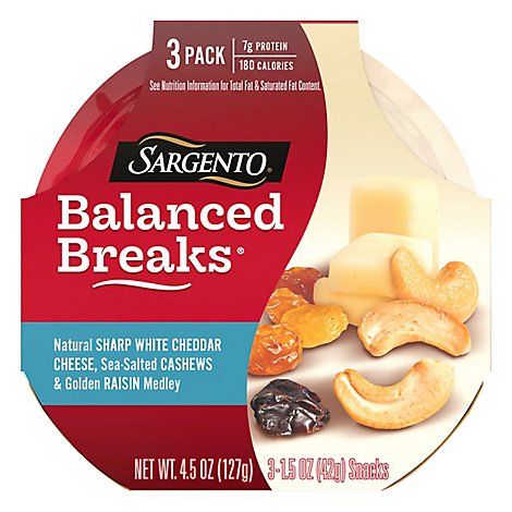 Sargento Balanced Breaks Cheese Snacks White Cheddar Cheese - 3-1.5 Oz
