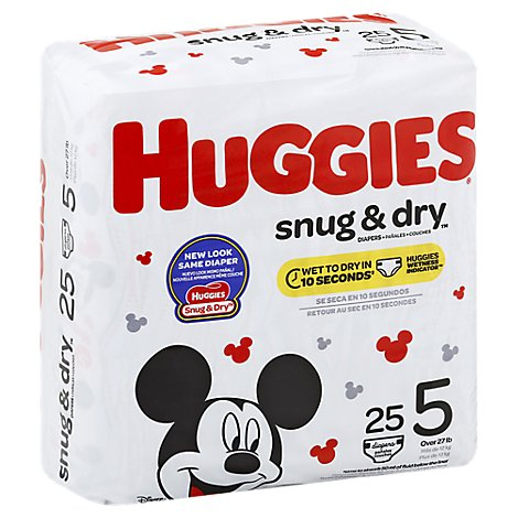 Huggies Snug & Dry Diapers Plus Wetness Indicator Size 5 - 25 Count