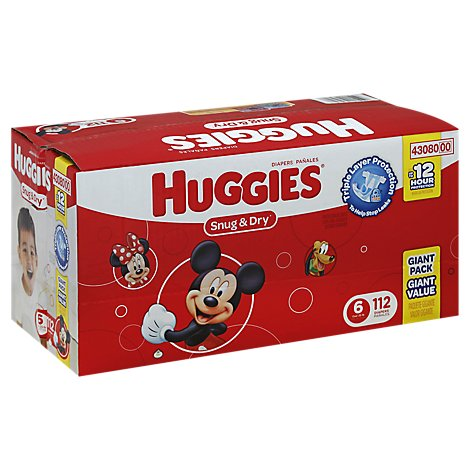 Huggies Snug & Dry Diapers Triple Layer Protection Size 6 Giant Pack - 112 Count