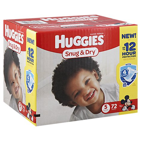 Huggies Snug & Dry Diapers Triple Layer Protection Size 5 - 72 Count