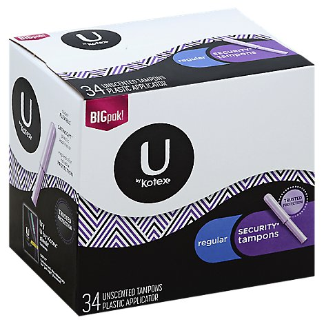 U by Kotex Security Tampons Unscented Plastic Applicator Tampons Regular Big Pak! - 34 Count