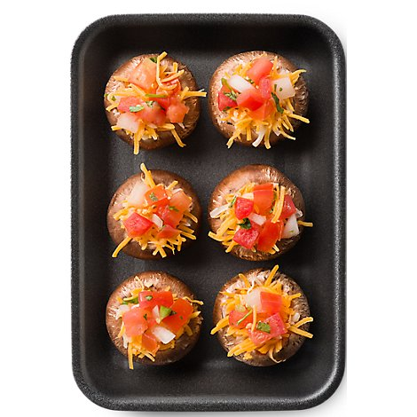 Fresh Cut Mushrooms Stuffed Baby Bella With Pico De Gallo & Cheddar 6 Count - 8 Oz