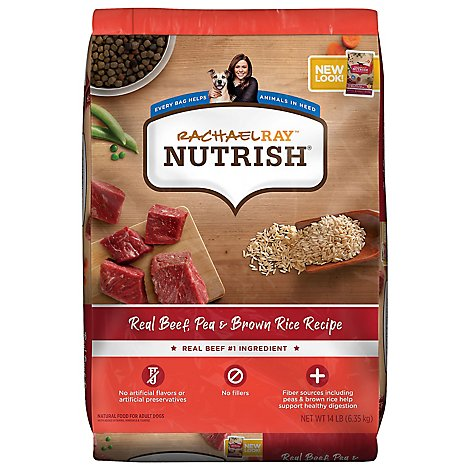 Rachael Ray Nutrish Food for Dogs Super Premium Real Beef & Brown Rice Recipe Bag - 14 Lb