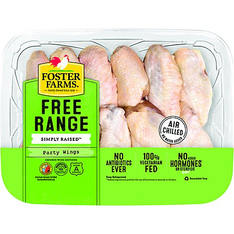 Foster Farms Simply Raised Party Wings - 1.25 Lbs.