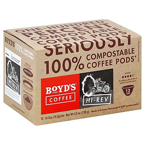 Boyds Coffee Coffee Pods Hi-Rev - 12-0.41 Oz
