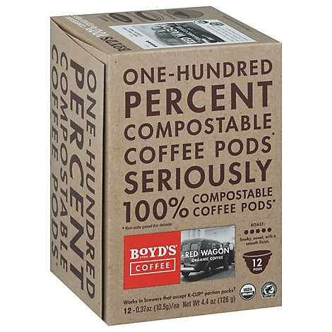 Boyds Coffee Coffee Pods Red Wagon Organic Coffee - 12-0.37 Oz