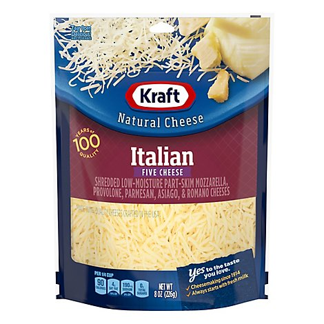 Kraft Natural Cheese Finely Shredded Italian 5 Cheese - 8 Oz