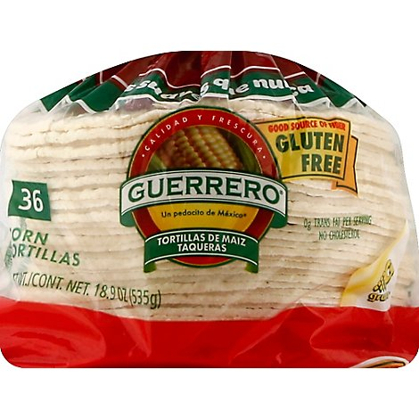Guerrero Tortillas Corn Maiz Taqueras Gluten Free Bag 36 Count - 18.9 Oz