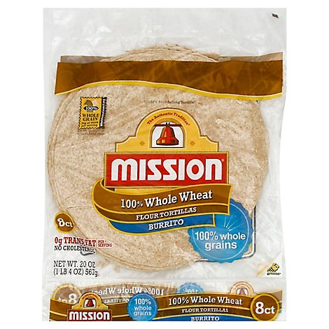 Mission Tortillas Flour Whole Wheat Burrito Bag 8 Count - 20 Oz