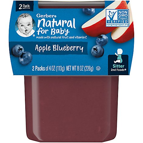 Gerber 2nd Foods Baby Food Apple Blueberry - 2-4 Oz
