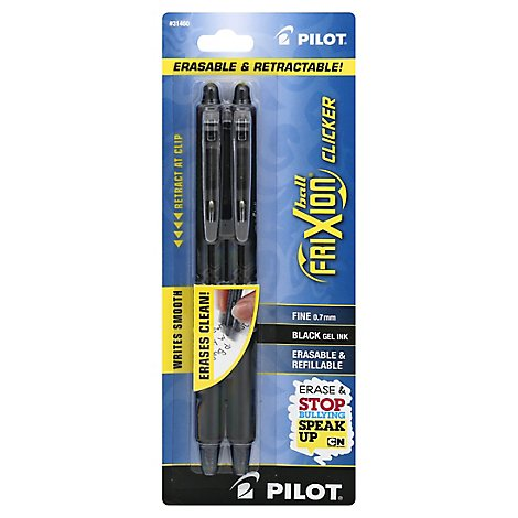 Pilot Ball Frixion Pens Gel Ink Fine 0.7 mm Black - 2 Count