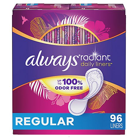 Always Radiant Daily Liners Unscented - 96 Count