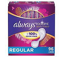 Always Radiant Pantiliners Liners Daily Regular Unscented - 96 Count