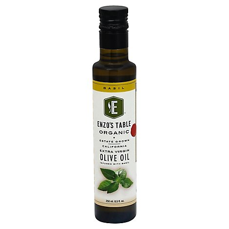 ENZOS TABLE Organic Olive Oil Extra Virgin With Basil - 8.5 Fl. Oz.