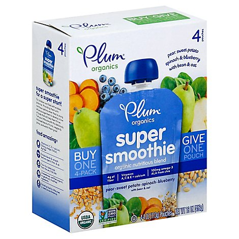 Plum Organics Super Smoothie Blueberry Pear Sweet Potato & Spinach - 4-4 Oz