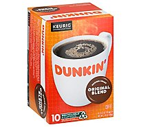 Dunkin Donuts Coffee K-Cup Pods Medium Roast Original Blend - 10-0.37 Oz