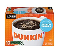 Dunkin Donuts Coffee K-Cup Pods French Vanilla Flavored - 10-0.37 Oz