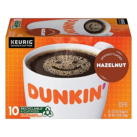 Dunkin Donuts Coffee K-Cup Pods Hazelnut Flavored - 10-0.37 Oz