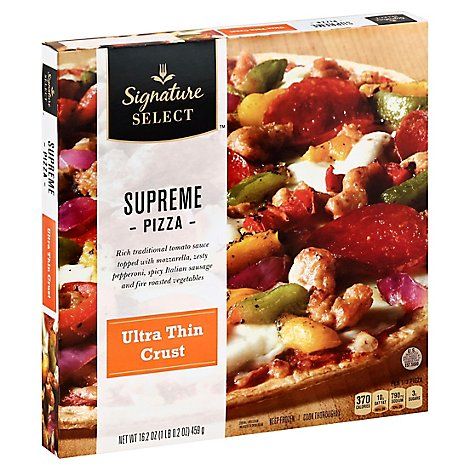 Signature SELECT Pizza Ultra Thin Crust Supreme Frozen - 16.2 Oz