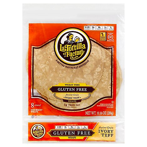 La Tortilla Factory Wraps Gourmet Ancient Grain Ivory Teff Bag 8 Count - 10.16 Oz