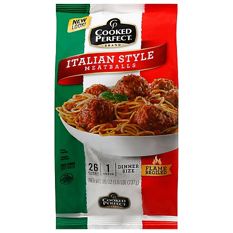 Cooked Perfect Meatballs Dinner Size Italian Style - 26 Oz
