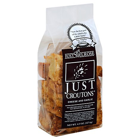 Just Off Melros Croutons Cheese And Garlic - 4.5 Oz