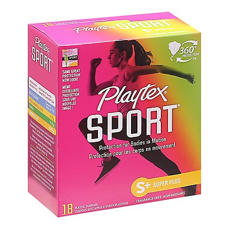 Playtex Sport Tampons Plastic Unscented Super Plus Absorbency - 18 Count