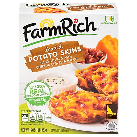 Farm Rich Snack Potato Skins Stuffed With Cheddar Cheese and Bacon - 16 Oz