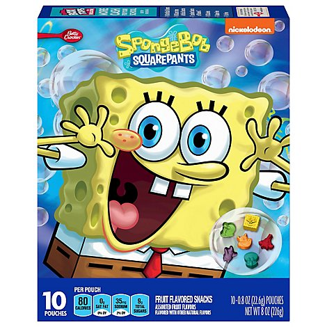 Betty Crocker Fruit Flavored Snacks Assorted Fruit Flavors Spongebob Squarepants - 10-0.8 Oz