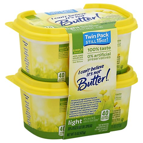 I Cant Believe Its Not Butter! Vegetable Oil Spread 30% Light Twin Pack - 2-7.5 Oz
