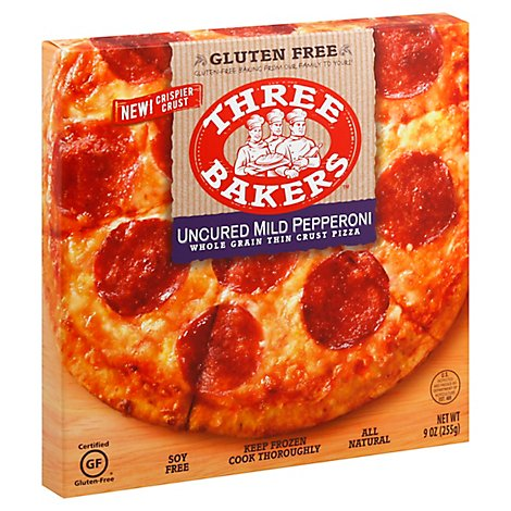 Three Bakers Pizza Mild Pepperoni Whole Grain Frozen - 9 Oz