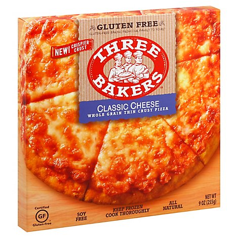Three Bakers Pizza Classic Cheese Whole Grain Frozen - 9 Oz