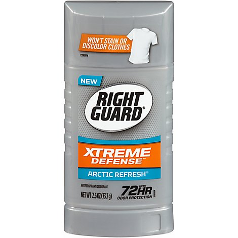 Right Guard Xtreme Defense 5 Antiperspirant Invisible Solid Arctic Fresh - 2.6 Oz