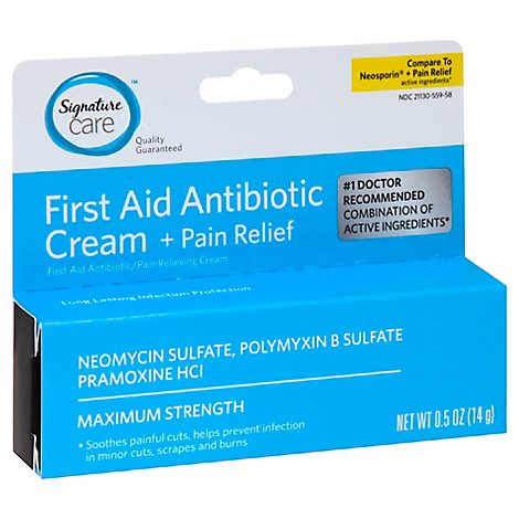 Signature Care Cream Antibiotic First Aid + Pain Relief Maximum Strength - 0.5 Oz