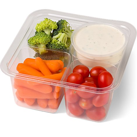 Fresh Cut Broccoli Carrots & Grape Tomatoes With Dip - 10 Oz (340 Cal)