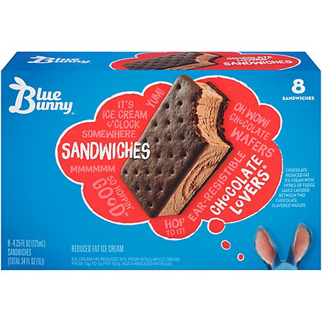 Blue Bunny Chocolate Lovers Ice Cream Sandwich - 8 Count