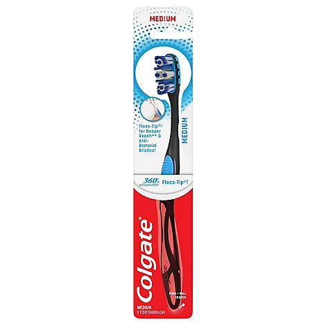 Colgate 360 Advanced Toothbrush Floss Tip Bristles Medium - Each