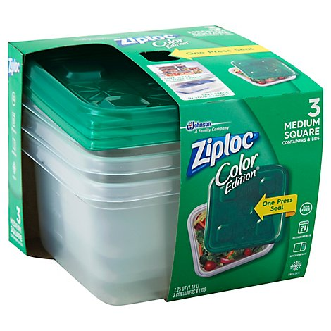 Ziploc Containers & Lids Square Medium Green - 3 Count