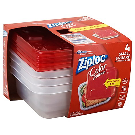 Ziploc Containers & Lids Square Small Red - 4 Count