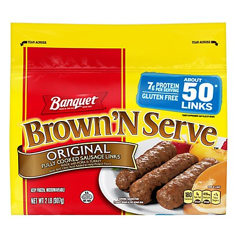 Banquet Brown N Serve Sausage Links Fully Cooked Original Value Pack 50 Count - 32 Oz