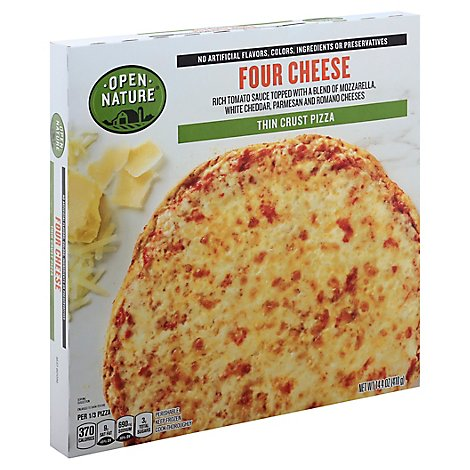 Open Nature Pizza Thin Crust Four Cheese Frozen - 14.4 Oz