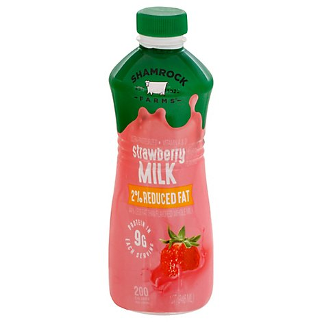 Shamrock Farms Milk Reduced Fat 2% Strawberry 1 Quart - 946 Ml