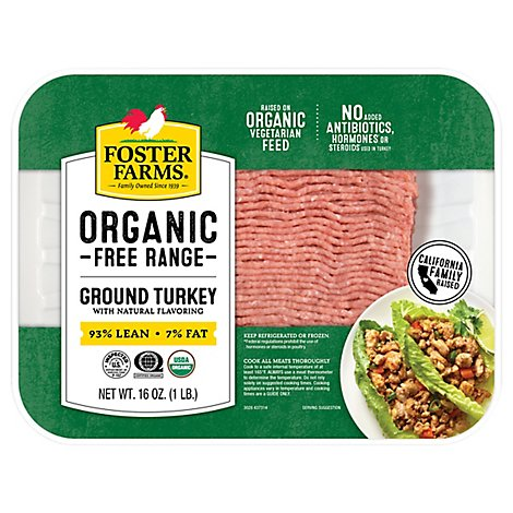 Foster Farms Organic Ground Turkey 93% Lean 7 % Fat - 16 Oz.