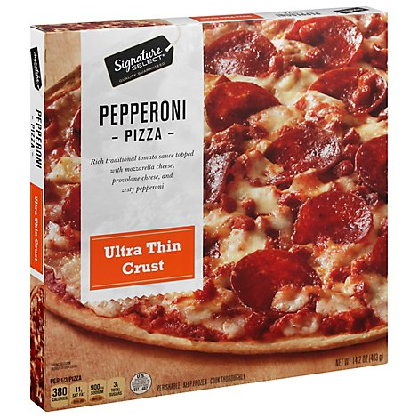 Signature SELECT Pizza Ultra Thin Crust Pepperoni Frozen - 14.2 Oz
