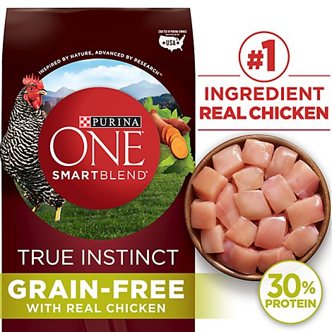 Purina ONE SMARTBLEND Dog Food Premium True Instinct With Real Chicken & Sweet Potato Bag - 6 Lb