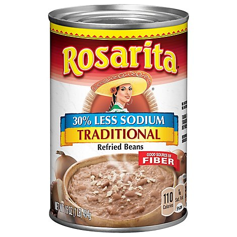 Rosarita Beans Refried Less Sodium Traditional Can - 16 Oz