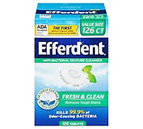 Efferdent Denture Cleanser Anti-Bacterial Tablets Plus Mint - 126 Count