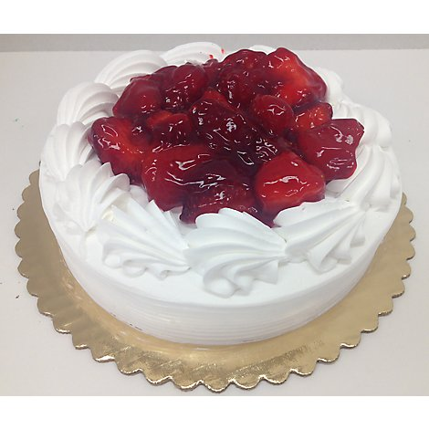 Bakery Cake Boston Cream Simple Vanilla Iced Strawberry - Each